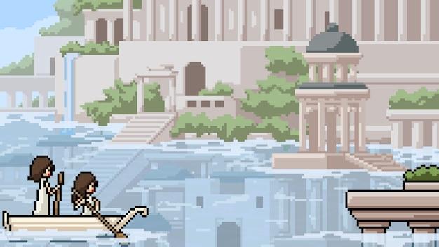 Pixelkunstszene überflutete die antike stadt