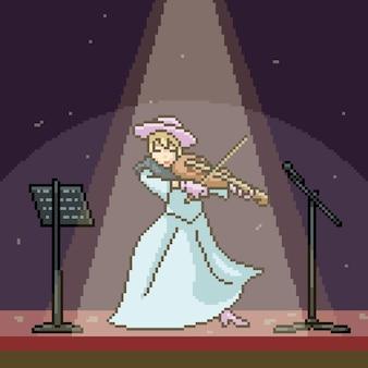 Pixelkunstszenefrau, die geige spielt