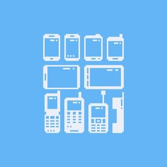 Pixelkunsttelefon-ikonensatz.