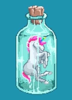Pixelkunstvektorillustration des niedlichen kawaii charakters des mini-einhorns innerhalb einer flasche mit stil der 80er jahre.