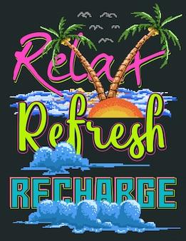 Pixelkunstvektorillustration von sonnenuntergang, himmel, palme und strand mit typografie und farbstil der 80er jahre.