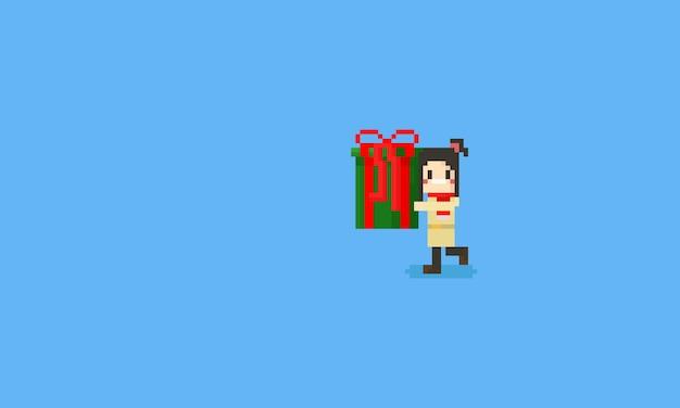 Pixelmädchen, das eine große geschenkbox hält