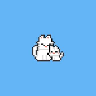 Pixelmutterkatze mit kleiner miezekatze. 8 bit.