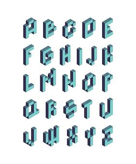 Pixelschrift. isometrische videospiel alphabet retro-stil 90er jahre kubische buchstaben vektor 3d. pixelspiel alphabet, typografie schriftart illustration