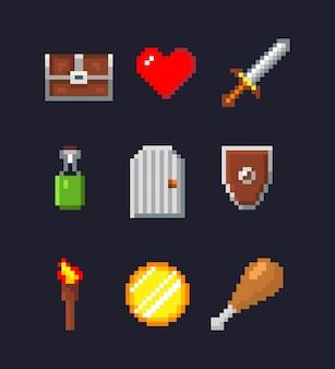 Pixelsymbole. schatztruhe, schwert, zaubertrank, rotes herz, feuerfackel, goldmünze.
