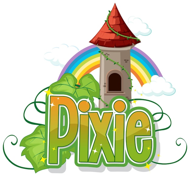 Pixie-logo mit kleinen feen auf weiß