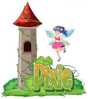 Pixie-logo mit kleinen feen auf weißem hintergrund