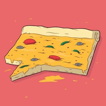 Pizza als nachrichtensymbol geformt. social media, designkonzept teilen