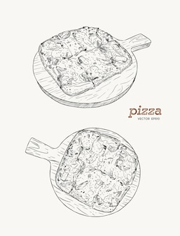 Pizza auf dem skizzenvektor des skizzenvektors des hölzernen brettes hand. schinken, speck und käse.