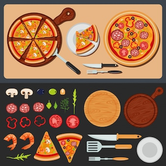 Pizza auf dem teller und zutaten für pizza
