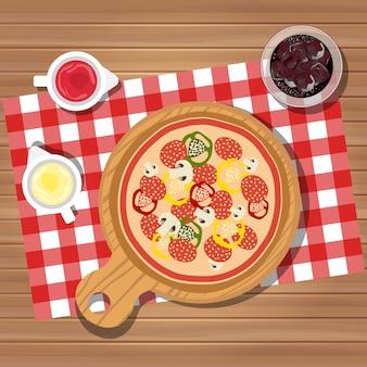 Pizza auf dem tisch
