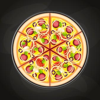 Pizza auf der tafel