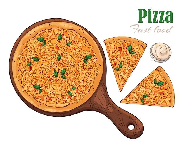 Pizza auf einem brett.
