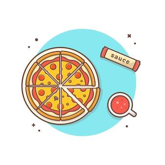 Pizza auf platte mit soda-und soßen-vektor-ikonen-illustration. top angle view. lebensmittel-und getränk-ikonen-konzept-weiß lokalisiert