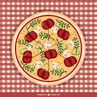 Pizza auf tischdecke vektor