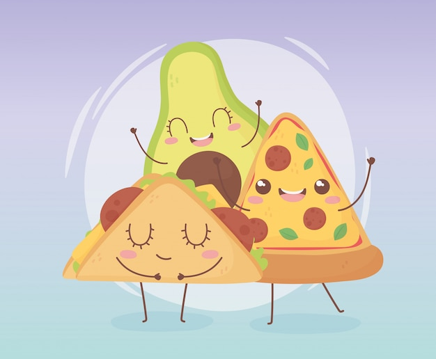 Pizza avocado und fast food kawaii cartoon charakter design
