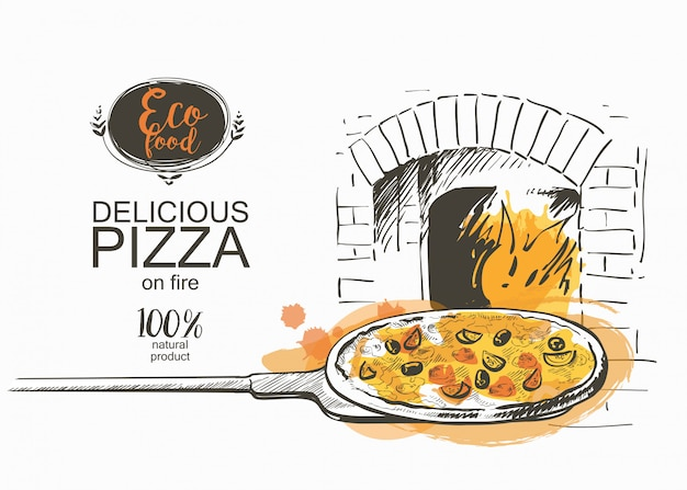 Pizza backfertig in der ofenvektorillustration