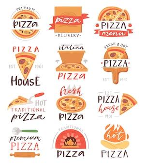 Pizza beschriftet italienisches lebensmittelzeichen der pizzeria oder des pizzahauses für typografie-druckillustrationssatz von gebackenem kuchen oder pizzaoven auf fahne
