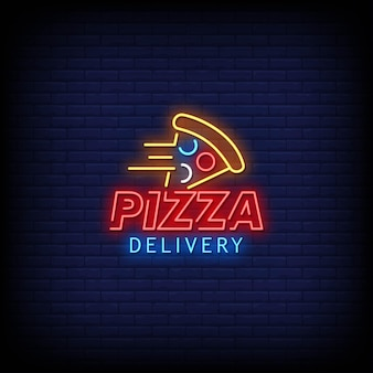 Pizza delivery logo neonschilder style text
