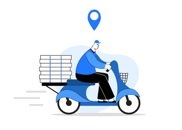 Pizza delivery man auf einem motorrad. der kurier bringt essen. mit einem navigationszeichen.
