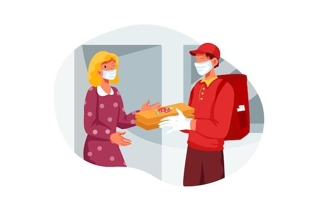 Pizza deliveryman brachte eine bestellung ins haus