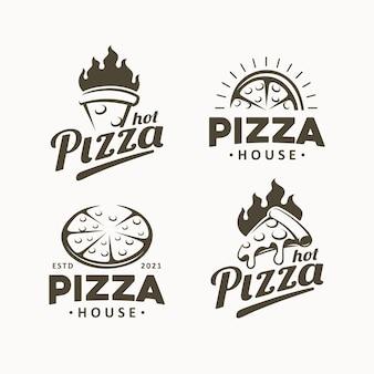 Pizza design logo vorlage gesetzt