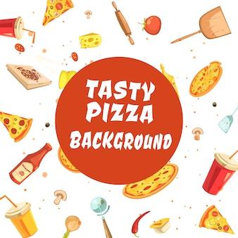 Pizza, die nahtloses muster des satzes mit weißer aufschrift bildet
