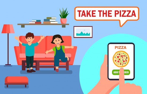 Pizza, die online app-vektor-illustration bestellt