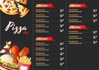 Pizza-Essen-Menü für Restaurant und Café.
