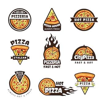 Pizza-etiketten. farbige ausweisschablone des pizzerialogodesigns färbten italienische küchentortenlebensmittelbestandteile