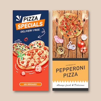 Pizza flyer design mit peperoni pizza, teekanne aquarell illustration.