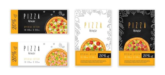 Pizza flyer oder banner vorlage geschenkgutschein vorlage pizzashop rabattgutschein