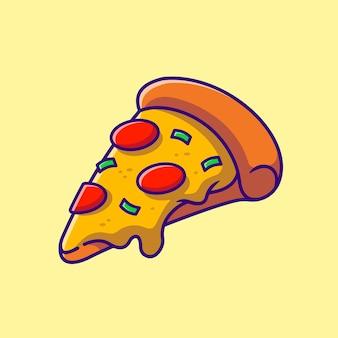 Pizza geschmolzen cartoon illustration. flacher cartoon-stil