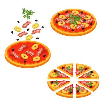 Pizza geschnittenes isometrisches ikonen-set
