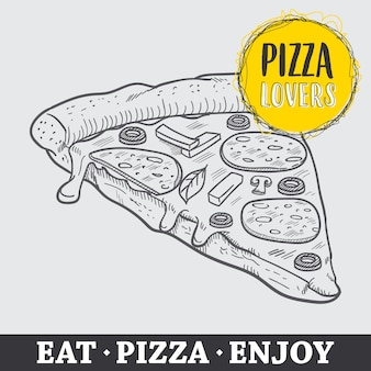 Pizza hand gezeichnet