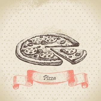Pizza. handgezeichnete abbildung
