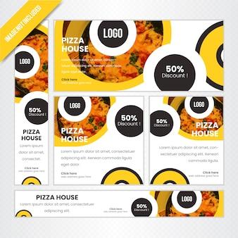 Pizza-haus-netz-fahnen-satz für restaurant