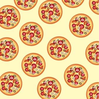 Pizza haut über sahne hintergrund vektor-illustration