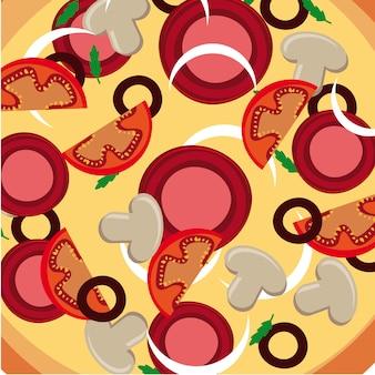 Pizza haut über teller hintergrund vektor-illustration
