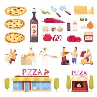 Pizza icon set mit isoliertem produkt für pizza kreation pizzeria und köche vektor-illustration