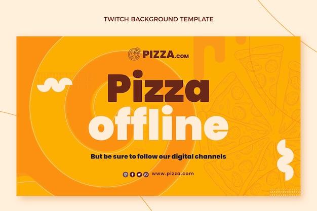 Pizza im flachen stil zuckender hintergrund