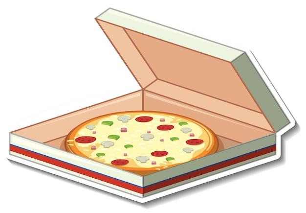 Pizza im kartonaufkleber auf weißem hintergrund