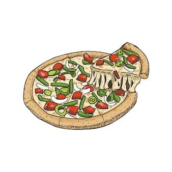 Pizza im vintage handgezeichneten stil. sofort einsatzbereit.