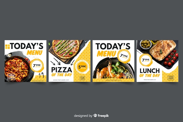 Pizza instagram beitragssammlung mit foto