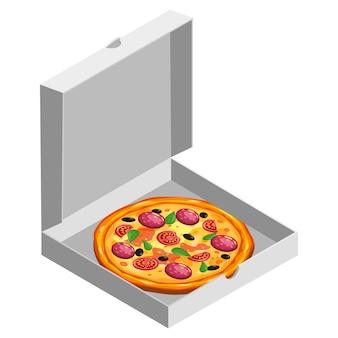 Pizza isometrisch im offenen weißen karton. paketvorlage, lieferung, flaches design.