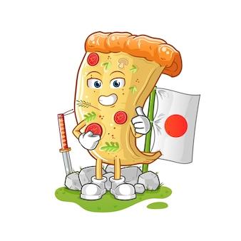 Pizza japanisch. zeichentrickfigur