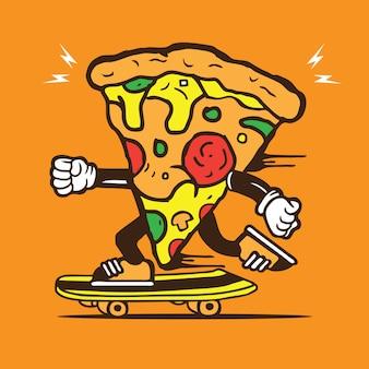 Pizza-käse-skater-skateboard-charakter