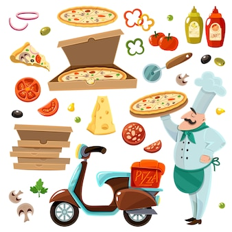 Pizza-karikatur-set
