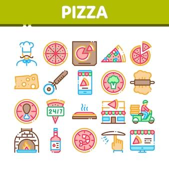 Pizza-köstliche nahrungsmittelansammlungs-ikonen eingestellt