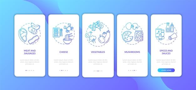Pizza konstruktor onboarding mobile app seite bildschirm mit konzepten